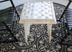 Shabby Whitewashed Primitive Table Repurposed into a Checkers Board Beach Cottage Game Table Repurposed Furniture, Painted Furniture, Checkerboard Table, Primitive Tables, Chess Table, Table Games, Beach Cottages, Outdoor Furniture, Outdoor Decor