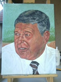 Mr Piet van Vreden portrait on canvas.  Size_: (40×30cm) Medium_: Acrylics on canvas.  By Alfred Dube
