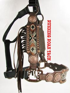 Aztec Tribal Inlaid Halter with Chocolate Fringe and Copper Indian Chief Conchos by Running Roan Tack Barrel Racing Horses, Barrel Horse, Horse Gear, Horse Tips, Horse Halters, Horse Saddles, Bronc Halter, Western Horse Tack, Rodeo Life