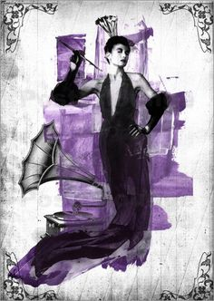 Woman with cigaret  violet - Poster von Andreas Maldei