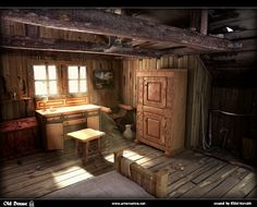 Image detail for -title old house author horvath elod country romania software max . Wooden Decor, Wooden Diy, Medieval Houses, Student Awards, Old Room, Old Windows, Cottage Interiors, 3d Max, Cabins In The Woods