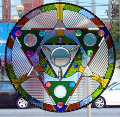 Dichroic Stained Glass Panel disc Medicine Wheel sacred geometry color 2. $1,065.00, via Etsy.