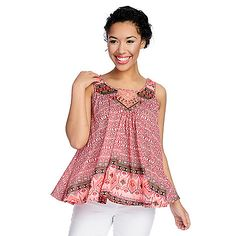 de8eedf018f6f One World Printed Knit Ribbon & Lace Trimmed Trapeze Tank Top on sale at  evine.com