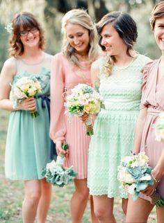 2014 Wedding Trends | Shades of Pink + Mint Weddings | Mint Bridesmaids Dresses | Pink Bridesmaid Dresses