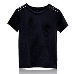 $10.32 Men's Cotton T-Shirt With Stud Embellished Scoop Neck Short Sleeve Design