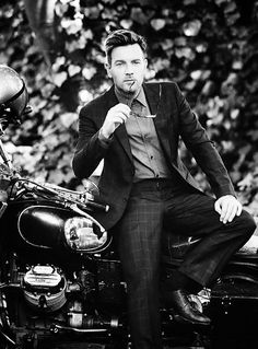 Ewan McGregor + suit + motorcycle = cool and classy