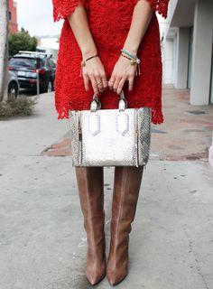Sydne Style wears Henri Bendel metallic handbag + Turquoise & Sand Friendship Fragrance Bracelets for holiday fashion style