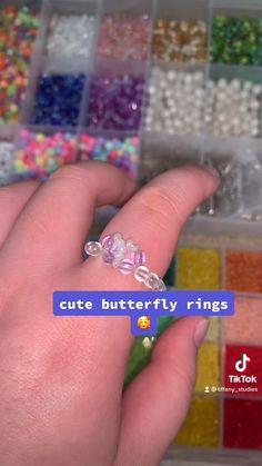 Diy Beaded Rings, Diy Jewelry Rings, Diy Jewelry Unique, Diy Crafts Jewelry, Diy Rings, Bracelet Crafts, Seed Bead Jewelry, Bead Jewellery, Beaded Jewelry