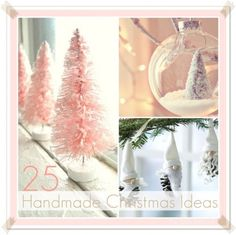 Here they are 25 Handmade Christmas Ideas to decorate our homes in a budget. Bottle Brush Christmas Trees over at Styled Creative. These are those little Green Christmas Trees that you can find at the Dollar Store. I didn't know I could change the color! AWESOME! This Winter Wonderland...