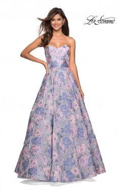 f2c6215ce9 La Femme 27507 is a sweetheart neck strapless jacquard prom dress.