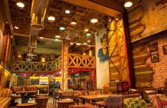 Garam Dharam is a desi combination of dhaba and theka in Delhi's Connaught Place inspired by legendary actor Dharmendra. Born of Web Restaurant Exterior Design, Cafe Interior, Interior Design, Restaurant Furniture, Beautiful Hotels, I Am Awesome, Biryani, Lounge, Comic