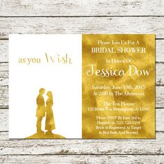 Princess Bride Bridal Shower Invitation Printable Movie Wedding Download Party Announcement Card Cards Engagement Party