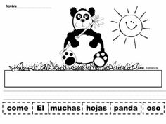 Cut and Paste Sentences Animals in Spanish. Make them for pictures of realistic in mal behavior.