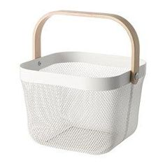 IKEA - RISATORP, Wire basket, This basket makes it easy to access and get an overview of your fruit and vegetables, and has a decorative look.You can easily bring this basket with you for grocery shopping or picking home-grown vegetables in the garden. Ikea Kitchen Pantry, Kitchen Wall Storage, Kitchen Organization Pantry, Pantry Organization, Ikea Kitchens, Bedroom Organization, Ikea Basket, Monochrome Nursery, Ikea Decor