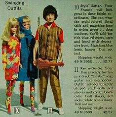 Sears 1967 Christmas catalog. My favorite mod Ken outfit and one my very favorite Francie outfits... together in the same picture!