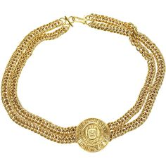 Pre-owned Chanel Vintage Gold Double Strand Chain Medallion Choker (11.988.530 IDR) ❤ liked on Polyvore featuring jewelry, necklaces, gold medallion, gold choker necklaces, gold choker, double strand necklace and yellow gold necklace