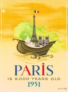 1951 Paris France French Europe European Vintage Travel Advertisement Poster