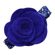 Fabulous 3D felt rose in royal blue. Each rose is hand-rolled and on a lined alligator hair clip with our no slip grip. Available in 16 colors.