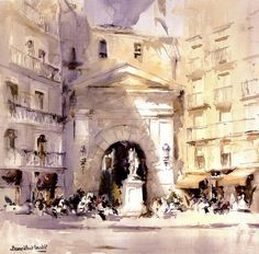 Laurentino Martí Watercolor Artists, Watercolor Paintings, Watercolors, Marti, Spanish Art, Collor, City Scene, Art Sketchbook, Street View