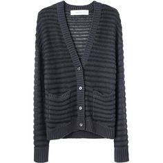 Cacharel Ribbed Cardigan ($260) ❤ liked on Polyvore featuring tops, cardigans, outerwear, sweaters, jackets, long sleeve v neck top, drop shoulder tops, ribbed cardigan, cardigan top and long sleeve cardigan