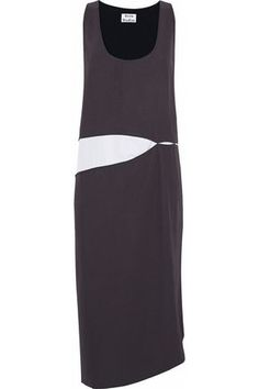 ACNE STUDIOS WOMAN POPLIN-PANELED TWO-TONE TWILL MIDI DRESS CHARCOAL. #acnestudios #cloth #