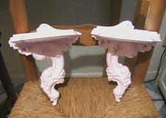 2 Shabby Chic Pale Pink Syroco Wood Wall Shelves RARE Old Vintage Set 2 1940's Very Ornate Roses Elegant Paris Cottage Upcycled