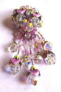 Vintage Vendome Swarovski Dangling Crystal Brooch, Floral Enamel