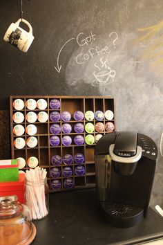 Mug Storage solutions. 49 Modern Mug Storage solutions Ideas. K Cup Storage solution Ikea Lined with Burlap Coffee Mug Storage, K Cup Storage, Storage Ideas, Wall Storage, Wall Shelves, Storage Solutions, Shelf, Keurig Station, Coffee Bar Station