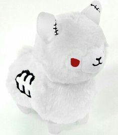 A super cute, limited edition, Albino version of our Zombie Alpaca! Kawaii Plush, Cute Plush, Kawaii Alpaca, Kawaii Goth, Cute Stuffed Animals, Cute Animals, Alpacas, Alpaca Plushie, Tasty Peach Studios