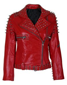 WOMENS FASHION JACKET LONG SLEEVES HAND FIXED SILVER STUDS PURE REAL LEATHER