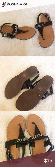 LOFT Black patent silver chain link sandals No Trades. Preloved. LOFT Shoes Sandals