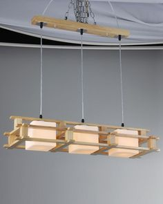 Unique Design Wood Island Light with 3 Frosted Glass Diffusers