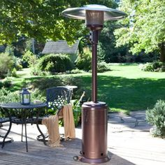 Fire Sense PRO Series Hammered Bronze Patio Heater by Fire Sense. $449.98. Tip-over protection and ''Never-Down'' warranty. Commercial-grade patio heater in hammered bronze. One-piece pole and reflector. Electronic ignition and easy tank access panel. 46,000 BTU heat output and thicker steel body. Need a patio heater that will literally never stop working? Look no further than the Fire Sense PRO Series Hammered Bronze Patio Heater. This extra-heavy-duty thick steel...