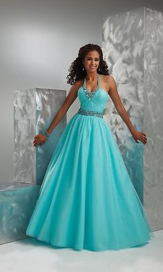 Halter Beading Mint Tulle Ball Gown Prom Dress