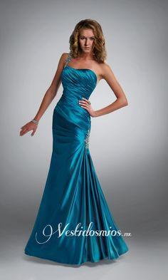 Saten Solo Hombro Sirena Lentejuelas Vestido Largo de Noche VP012 [VP012] - Mex$2,770.66 :
