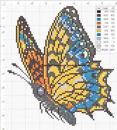 borduurpatronen vlinders cross stitch butterfly charts