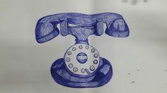 Teléfono antiguo, es uno de los dibujos que más a me complicó pero trate de hacer lo mejor que pude