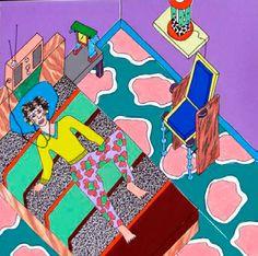 Nathalie Du Pasquier poster drawing for a 1985 Paris exhibition.