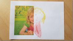 Basteln mit Kindern: Druckt ein halbes Foto aus und lässt es die Kinder fertig malen! Jedes Jahr wieder...