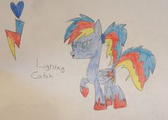 Lightning Catch is a very fast flyer and famous for making rainbow clouds by zooming past them.. She loves every pony around her and is very humble..30 bits to adopt.