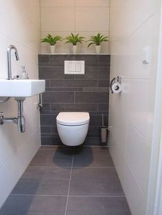 Dreamy wc toilet in bathroom ideas for you waaaw 37 28 Bathroom Wall Decor Ideas to Increase Bathroom's Value Grey Bathroom Tiles, Downstairs Bathroom, Bathroom Wall Decor, Bathroom Interior, Bathroom Ideas, Bathroom Plants, Bathroom Small, Grey Tiles, Cloakroom Ideas