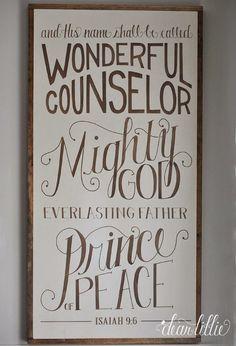 """Dear Lillie: Our """"And His Name Shall Be Called..."""" Oversized Wood Sign and Some Simple Winter Touches in the Dining Room"""
