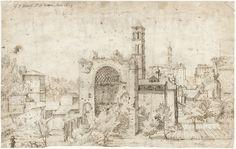 Gerard ter Borch (I) | Gezicht op de absis van de tempel van Venus en Roma en het klooster S. Maria Nova, Rome, Gerard ter Borch (I), 1609 |