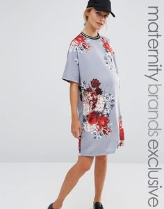 Bluebelle Maternity Floral Printed Shift Dress With Rib Trim