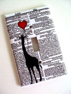 Love Me Giraffe Red Balloon Switchplate Cover in Single or Double Switch Plate Original Design from woodendoll on Etsy. Giraffe Decor, Giraffe Art, Elephant, Switch Plate Covers, Switch Plates, Light Switch Covers, Big Balloons, Red Balloon, Jaguar