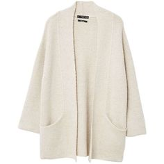 Oversize Wool-Blend Cardigan (€45) ❤ liked on Polyvore featuring tops, cardigans, oversized tops, over sized cardigan, long sleeve cardigan, textured top and long sleeve tops