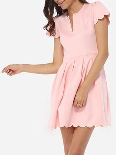 #AdoreWe #FashionMia Skater Dresses - FashionMia V Neck Dacron Plain Skater Dress - AdoreWe.com
