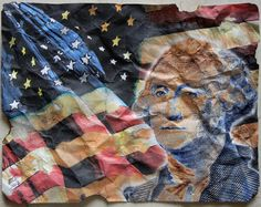 "8 X 11"" intervened Digi-art PRESIDENTS homage - George Washington"