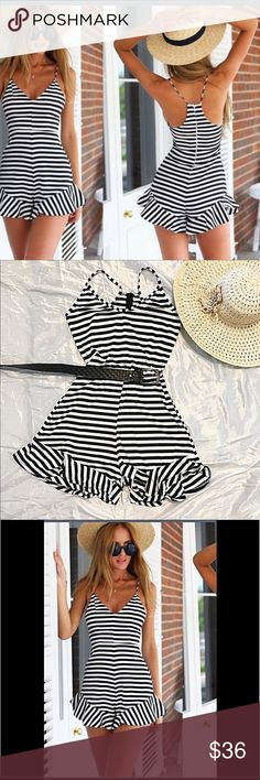 6fbbbd1a0e4 RESTOCKED Romper Jumper Playsuit Stripe Flattering Romper Jumper Playsuit  black and white Striped Figure Flattering and comfortable. Fun and flirty.  New in ...