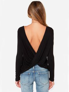 Shop Black Long Sleeve Cross Backless T-shirt online. Sheinside offers Black Long Sleeve Cross Backless T-shirt & more to fit your fashionable needs. Free Shipping Worldwide!